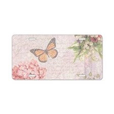 Vintage Pink flowers and butterfly Aluminum Licens