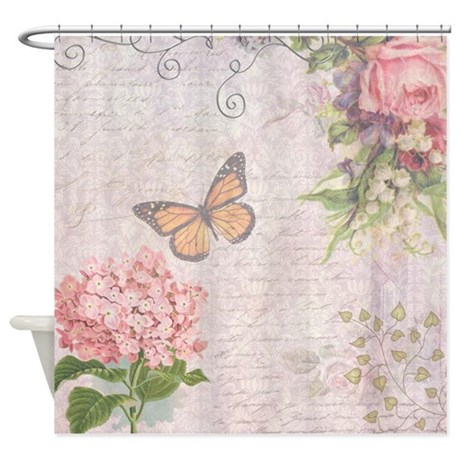 vintage pink flowers and butterfly shower curtain