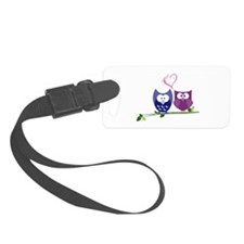 swirly pink heart owls copy.png Luggage Tag