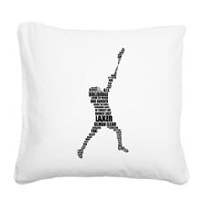 Lacrosse Text Player Square Canvas Pillow