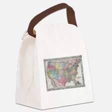 Vintage United States Map (1853) Canvas Lunch Bag