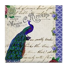 Vintage peacock collage Tile Coaster