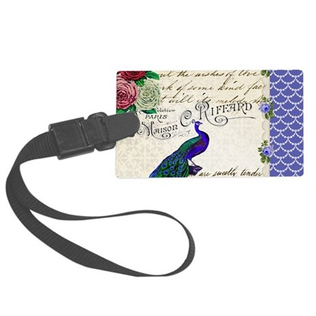 Vintage peacock collage Large Luggage Tag