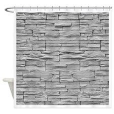 Grey Tile Shower Curtain