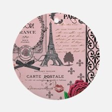 Vintage Pink Paris Collage Ornament (Round)