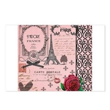 Vintage Pink Paris Collage Postcards (Package of 8