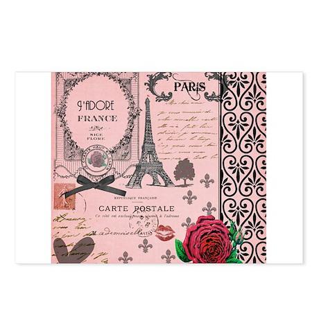 Vintage Pink Paris Collage Postcards (Package of 8