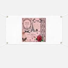 Vintage Pink Paris Collage Banner