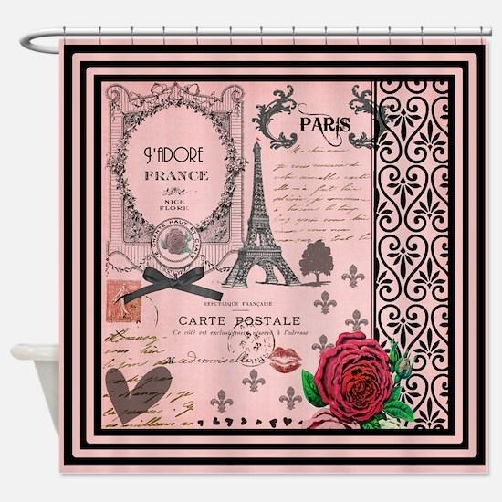 Vintage Pink Paris Collage Shower Curtain
