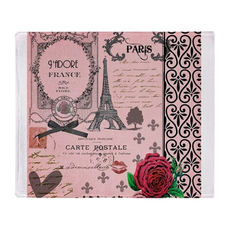 Vintage Pink Paris Collage Throw Blanket