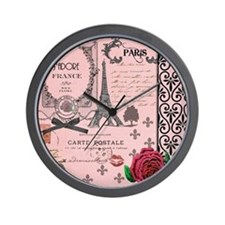 Vintage Pink Paris Collage Wall Clock