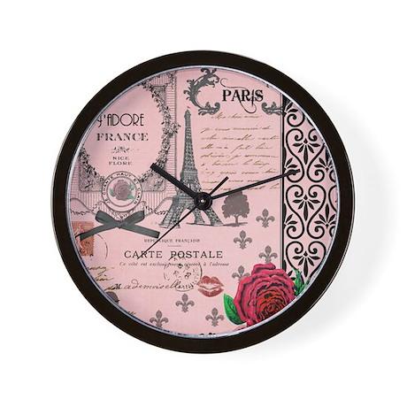 Vintage Pink Paris Collage Wall Clock