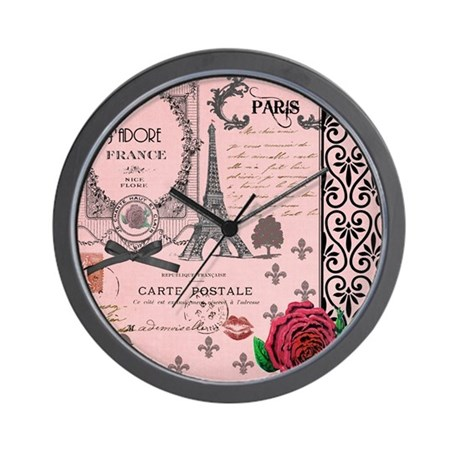 Vintage Pink Paris Collage Wall Clock by InspirationzStore