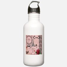 Vintage Pink Paris Collage Water Bottle