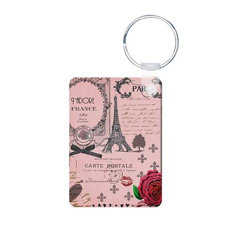 Vintage Pink Paris Collage Aluminum Photo Keychain
