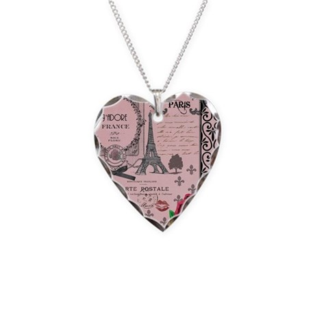 Vintage Pink Paris Collage Necklace Heart Charm