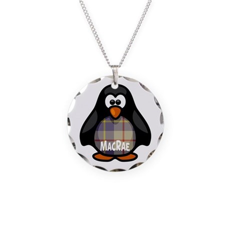 MacRae Tartan Penguin Necklace Circle Charm