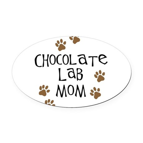 chocolate lab mom.png Oval Car Magnet