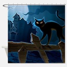 Black Cat, Halloween, Shower Curtain