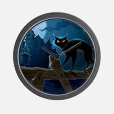 Black Cat, Halloween, Wall Clock
