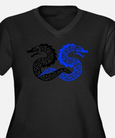 Tribal Tattoo Dragons Women's Plus Size V-Neck Dar