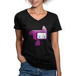 Women's V-Neck Dark Tylted T-Shirt