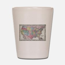 Vintage United States Map (1853) Shot Glass