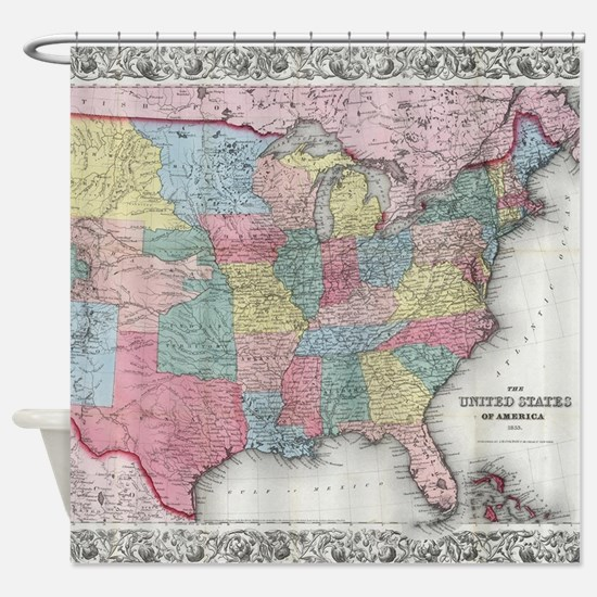 Vintage United States Map (1853) Shower Curtain
