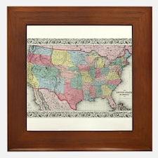 Vintage United States Map (1853) Framed Tile