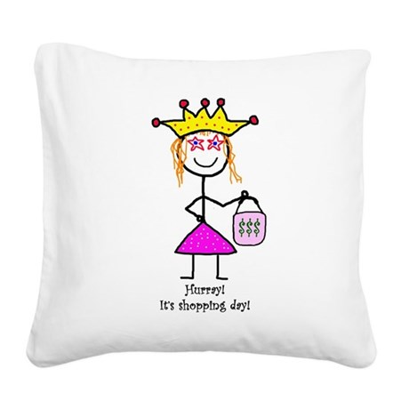 Princessitude! Shopping #1 Square Canvas Pillow