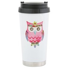 Pink Gypsy Owl Travel Coffee Mug