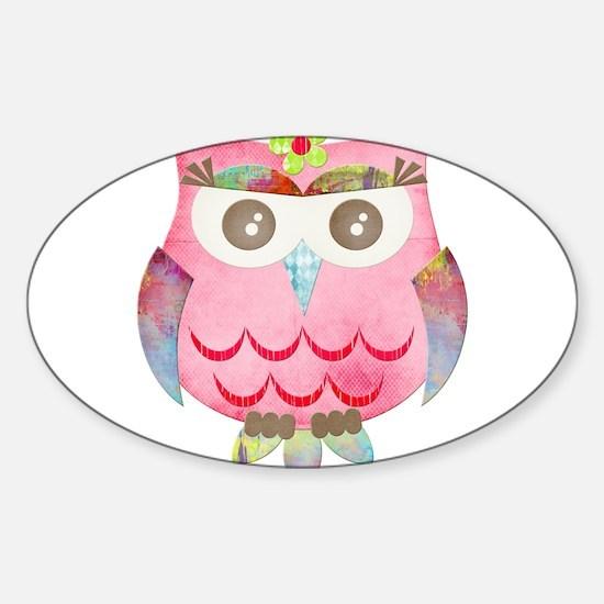 Pink Gypsy Owl Sticker (Oval)