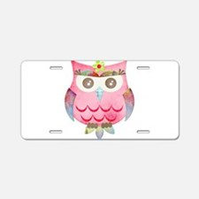 Pink Gypsy Owl Aluminum License Plate