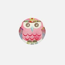 Pink Gypsy Owl Mini Button