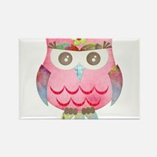 Pink Gypsy Owl Rectangle Magnet