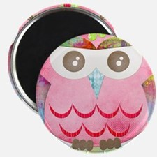 "Pink Gypsy Owl 2.25"" Magnet (10 pack)"