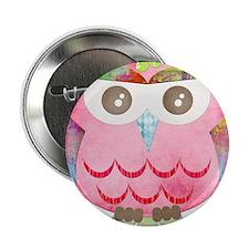 "Pink Gypsy Owl 2.25"" Button"