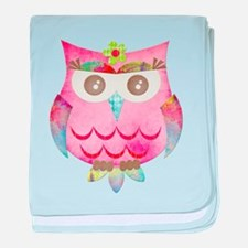 Pink Gypsy Owl baby blanket
