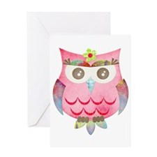 Pink Gypsy Owl Greeting Card