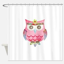Pink Gypsy Owl Shower Curtain