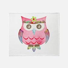 Pink Gypsy Owl Throw Blanket