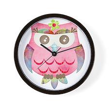 Pink Gypsy Owl Wall Clock