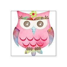 "Pink Gypsy Owl Square Sticker 3"" x 3"""