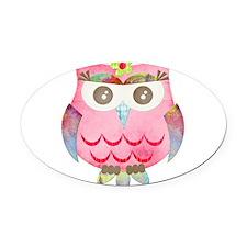Pink Gypsy Owl Oval Car Magnet