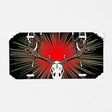 European skull mount,red Aluminum License Plate