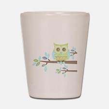 Bright Eyes Owl in Tree Shot Glass