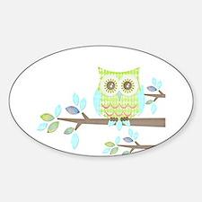 Bright Eyes Owl in Tree Sticker (Oval)