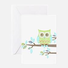 Bright Eyes Owl in Tree Greeting Card