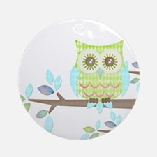 Bright Eyes Owl in Tree Ornament (Round)