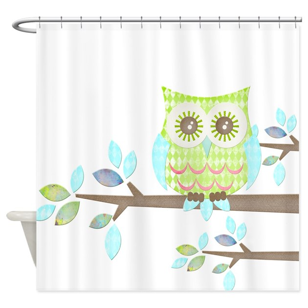 bright eyes owl in tree shower curtain by
